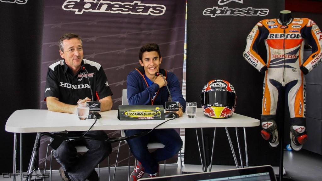 Marquez et Freddie Spencer complices lors de la Conférence de Presse chez MAXXESS Bordeaux. (Photo : ©OffBikes)