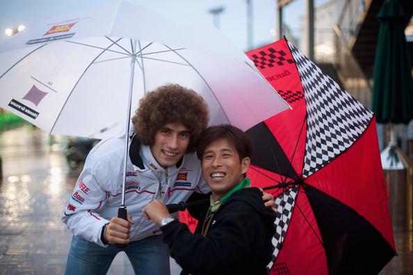 Takuma Aoki en compagnie de Marco Simoncelli lors du GP du Japon en 2010.