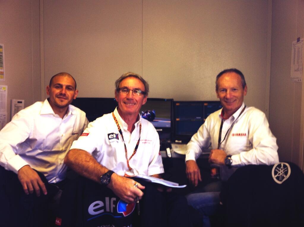Gilles Della Posta, Jacques Hutteau et Christian Sarron, en cabine Eurosport lors du GP de France 2013. (Photo : OffBikes)
