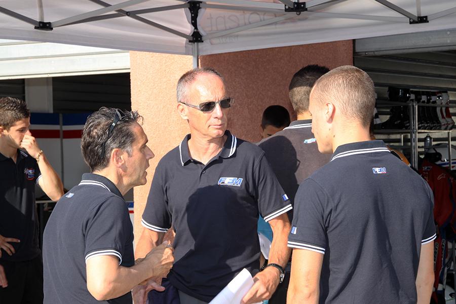 Alain Bronnec, Christian Sarron et Alan Techer lors des détection à sur le circuit d'Alès. (Poto : CIP Moto)