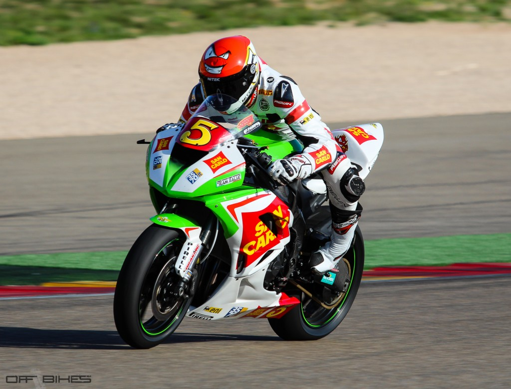 Marco Faccani remporte la première course Superstock600 à Aragón. (Photo : OffBikes)