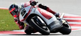 Johann Zarco s'élancera depuis la pole position demain en course. Une première dans carrière Moto2. (Photo : Caterham Moto2).