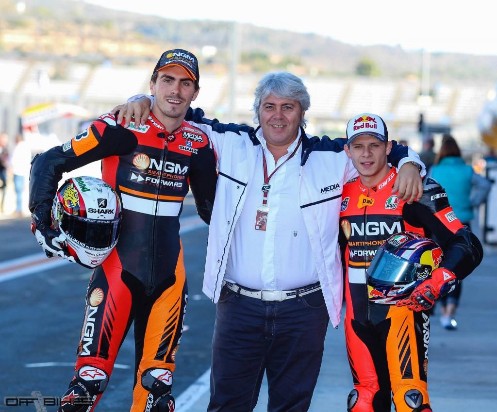 Loris Baz, Giovanni Cuzari et Stefan Bradl à Valencia. (Photo : Tom/OffBikes)