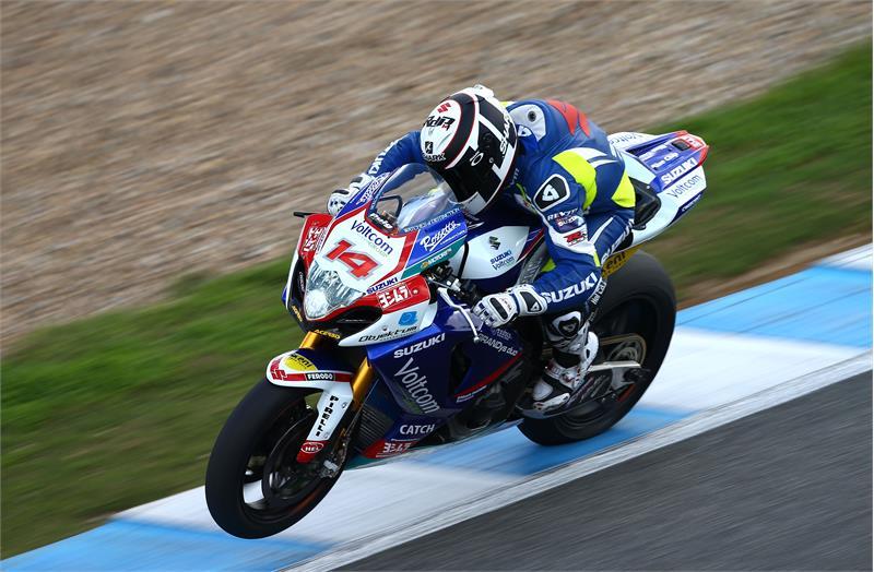 Randy De Puniet sous ses nouvelles couleurs lors du test à Jerez en novembre dernier. (Photo : Suzuki)