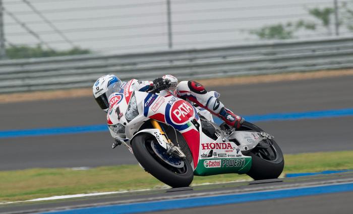 Contraint de partir depuis le fond de la grille suite à un problème mécanique avant le tour de chauffe, Sylvain Guintoli s'empare d'une excellente 6ème position. (Photo : PATA Honda)