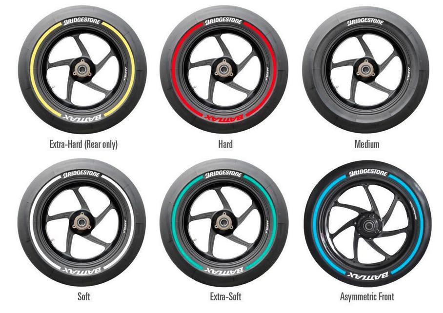 Les différents types proposé par Bridgestone pour la saison 2015. (Photo : Bridgestone).