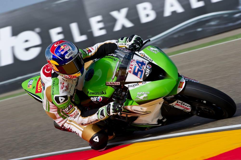 Kenan Sofuoglu a dominé la première partie de la séance qualificative ce samedi à Aragon. (Photo : Kawasaki)