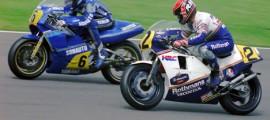 Christian Sarron et Randy Mamola au GP d'Angleterre 1985.
