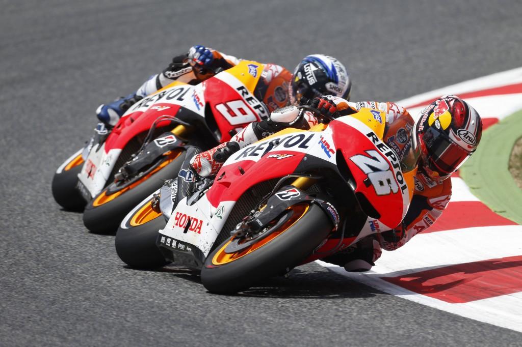 Marc Marquez n'a pas lâché la roue de son coéquipier Dani Pedrosa. (Photo : Team Honda Repsol)