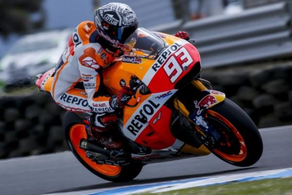 Marc Marquez s'impose aujourd'hui mais s'incline face la Suzuki de Maverick Viñales au combiné. (Photo : Honda)